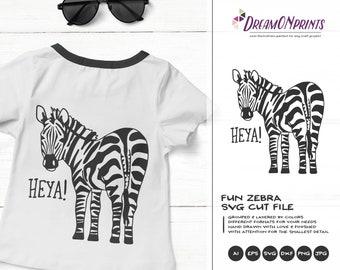 Zebra SVG Funny Zebra, Kids SVG Heya, Cute Wild Svg Cut File, Nature, Animals Svg DXF Files for Cricut, Silhouette Cutting Machines DOP338