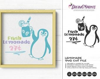 Fresh Lemonade SVG Penguin   Funny SVG Cut File