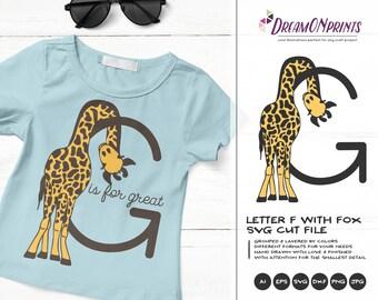 Letter G SVG Cut File | Monogram Letter G with Giraffe