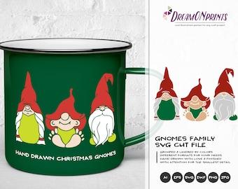 Cute Gnome Family SVG | Christmas Gnome Cut Files | Gnome Design