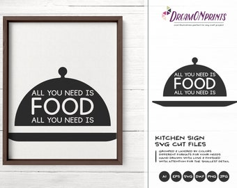 All You Need is Food SVG, Kitchen SVG, Kitchen Sign Svg, Apron Svg Designs, Sign Making Cooking svg Cricut Explore DOP214