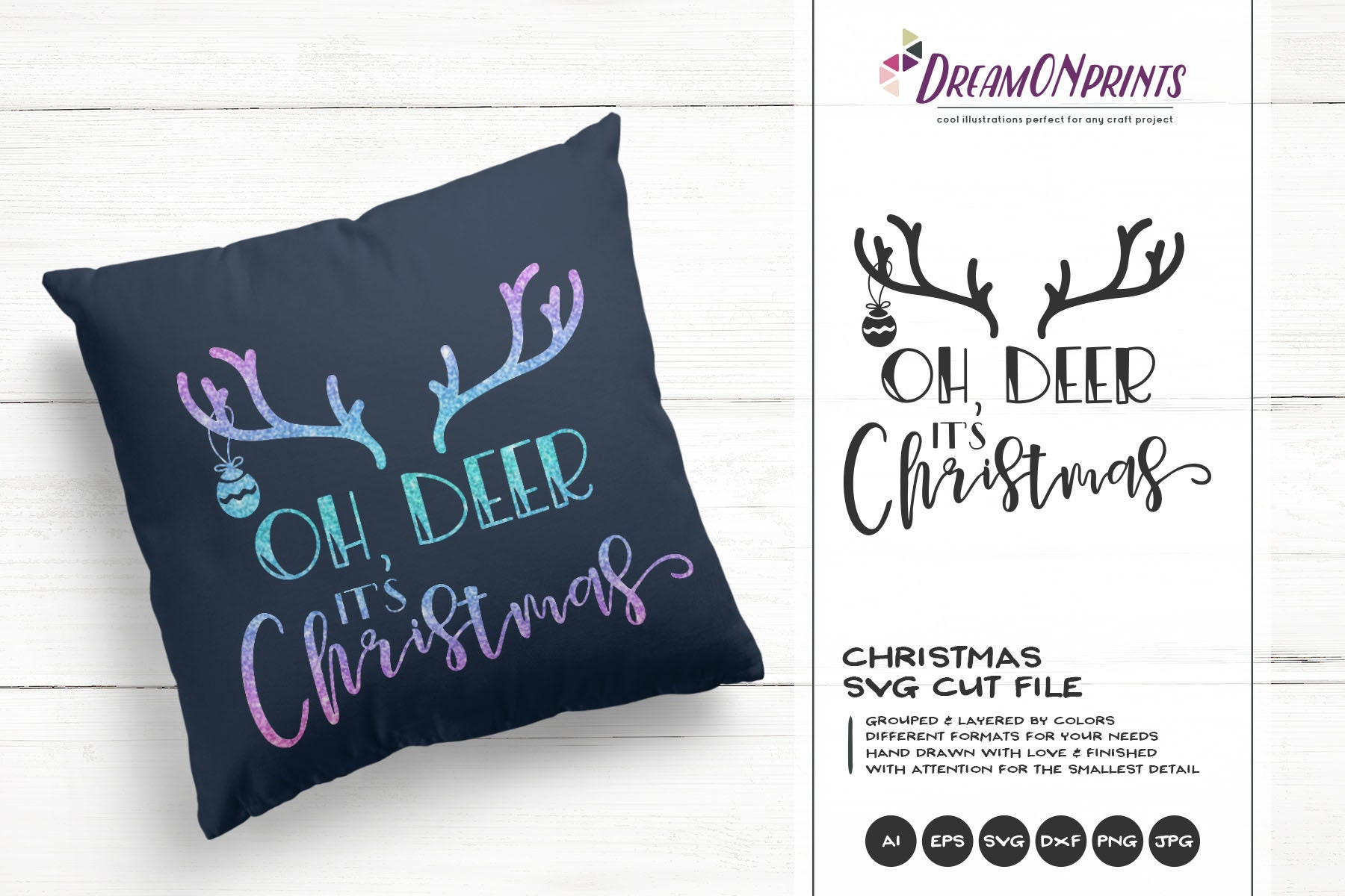 Christmas Deer Svg Antlers Oh Deer It S Christmas Cut Files Cute Winter Design