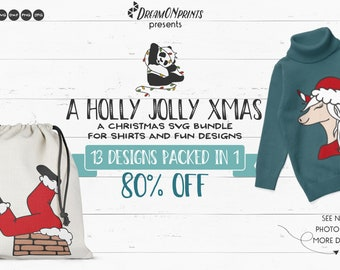 Funny Christmas SVG Bundle | Holly Jolly Xmas | Gnome SVG | Unicorn SVG