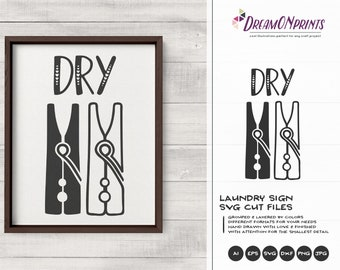 Laundry Signs SVG   Dry SVG, Dxf, Eps, Png
