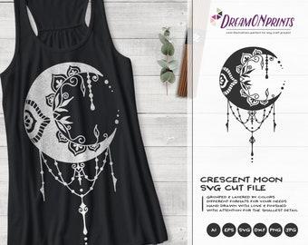 Crescent Moon SVG | Zentangle SVG | Halloween SVG Cut File