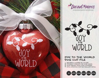 Joy To The World SVG Christmas lights | Christmas Quote Cut files | Christmas Design