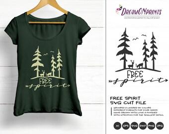 Free Spirit SVG | Forest SVG | Deer SVG Antlers | Wanderlust Illustration | Forest Svg for Cricut, Silhouette and More DOP316