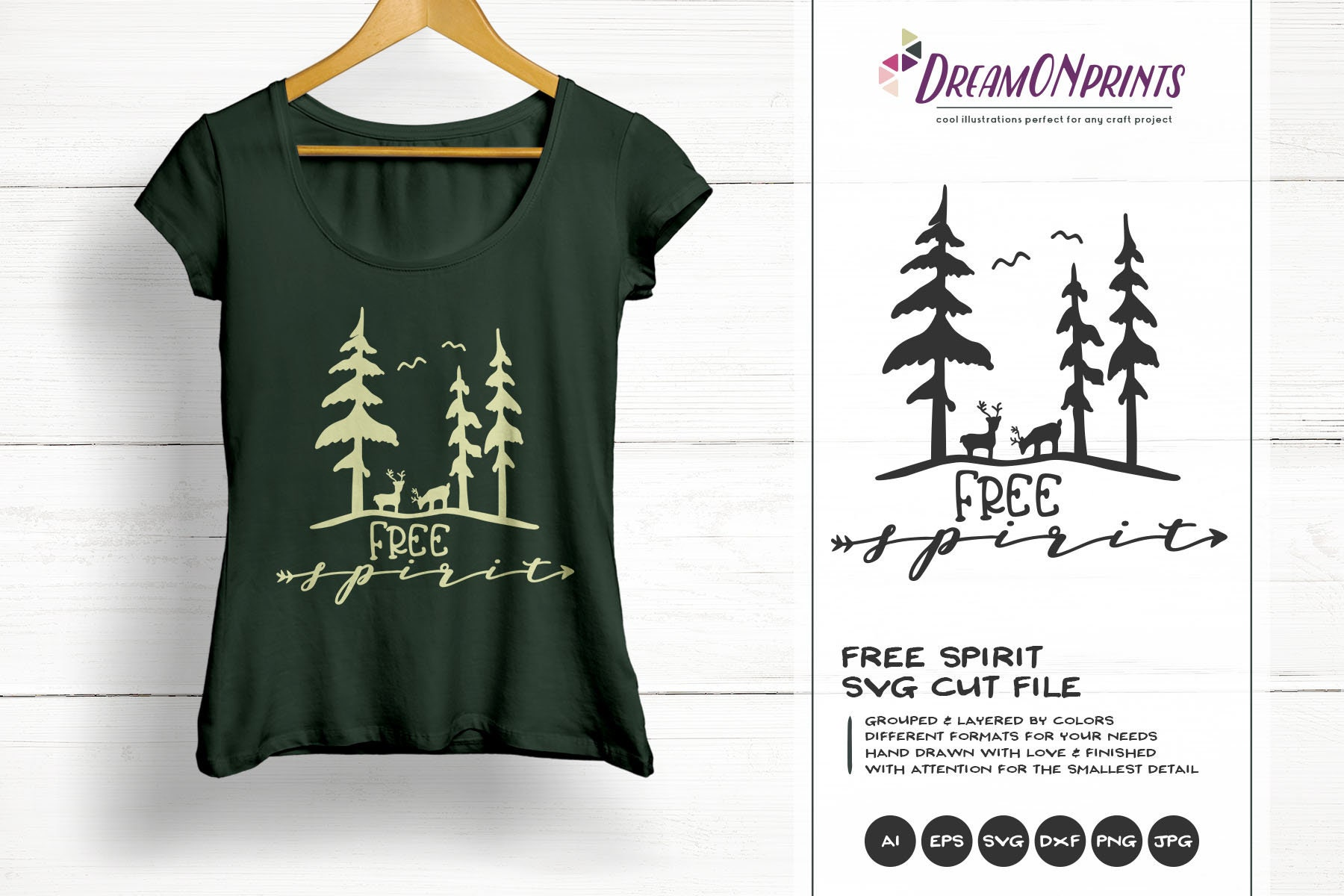 Free Spirit Svg Forest Svg Deer Svg Antlers Wanderlust Illustration Forest Svg For Cricut Silhouette And More Dop316