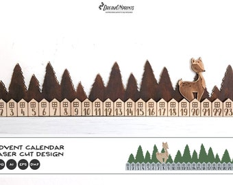 Christmas Advent Calendar Laser Cut Files | Advent SVG Laser Cutting and Engraving