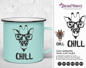 Giraffe SVG Chill, Nerd SVG, Glasses Svg Cute Wild Svg Cut File, Nature, Animals Svg DXF Files for Cricut, Silhouette DOP188