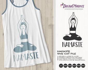 Namaste Svg Yoga, Funny Yoga Svg Pose, Meditate SVG,Woman Svg, Cute Svg Cut File, Nature Svg for Cricut, Silhouette, Dxf, DOP395