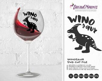 Winosaur SVG Wine Svg, Dinosaur Svg, Wine Lover SVG, Love SVG Svg Files for Cricut, Silhouette Cutting Machines DOP089