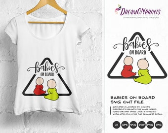 Twins on Board SVG, New Born SVG New Baby SVG, Pregnancy, Pregger, Baby Announcement Svg, Dxf Png Eps, Svg for Silhouette, Cricut Svg DOP169