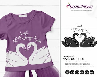 Swans SVG Love, My Heart Belongs to You Svg, Love Couple Svg Love Svg, Black Swan Svg, Valentines Day Svg for Cricut, Silhouette DOP329