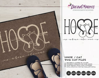 Home SVG Cat, Home is Where the Cat is SVG Welcome, Cats SVg Pets Svg Cut File Animals, DXF for Cricut, Silhouette Cutting Machines DOP108