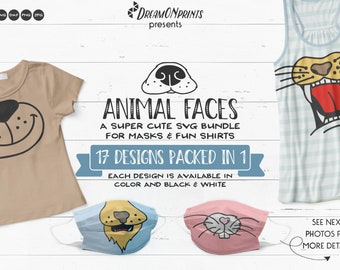 Animal SVG Bundle | Cute Animal Faces SVG| Face Mask Designs for Shirts and Fun Designs