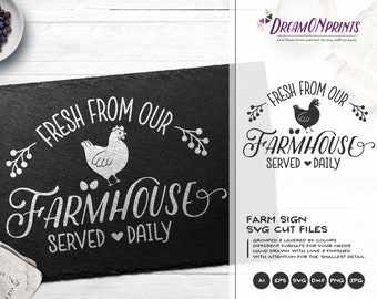 Farmhouse Sign SVG, Fresh from Our Farmhouse Svg, Farm Animals Svg Cut File, Sign Making Svg Files for Cutting and Printing DOP266