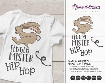 Little Mister Hip Hop SVG Bunny Butt SVG Easter Bunny Svg Funny Easter Svg Cut Files, Bunny Svg, DXF for Silhouette, Svg for Cricut DOP242
