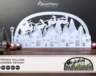 3D Christmas Village SVG | Christmas SVG 3D Layered Design | Paper Cut SVG