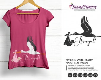 Stork Svg It's a Girl SVG, New Born SVG New Baby SVG, Pregnancy, Baby Announcement Svg, Dxf Png Eps, Svg for Silhouette, Cricut Svg DOP183