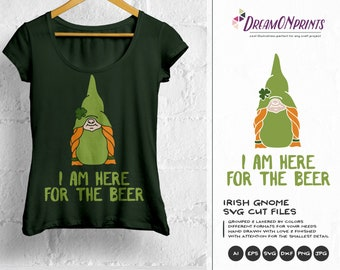 I am Here for the Beer SVG, Irish Gnome SVG, St Patricks Day, St Patty SVG, Shamrock Svg Cutting File for Cricut, Silhouette, Htv Svg DOP191