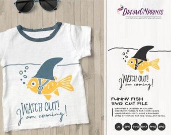 Goldfish SVG   Shark Week   Funny SVG  Fun Cut File   Sea Life Svg Cut File   Nautical Svg