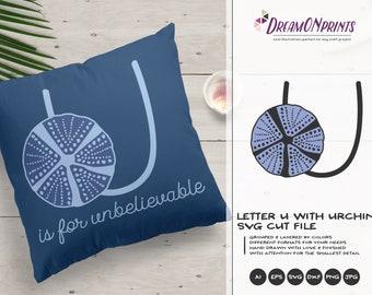 Urchin SVG | Monogram Letter U SVG | Ocean Life