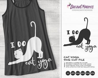Yoga Cat Svg, I Do Cat Yoga Svg, Meditate SVG,, Cat Svg Pets, Animals Svg Cute Svg Cut File, Nature Svg for Cricut, Silhouette DOP385