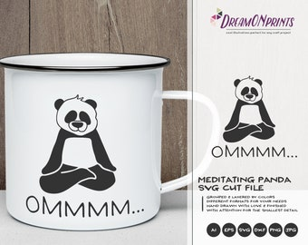 Om Panda SVG | Panda Bear Svg | Yoga Svg Cut File