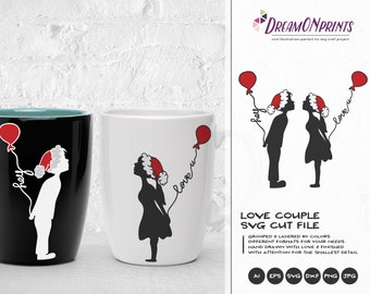 Christmas couple SVG Love Design | Love SVG | Boy and Girl Design | Love Cut Files