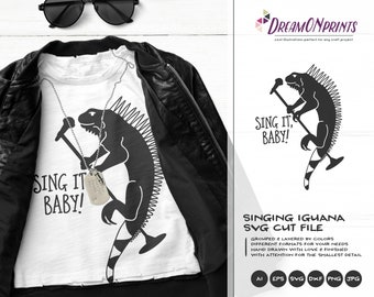 Singing Iguana SVG | Rock Music SVG | Lizard SVG Cut Files