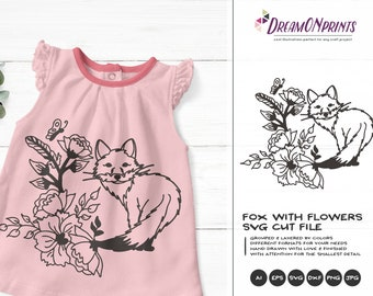 Fox SVG Flowers, Forest Svg Animals, Kids SVG, Cute Wild Svg Cut File, Nature, Animals Svg DXF for Cricut, Silhouette Machines DOP340