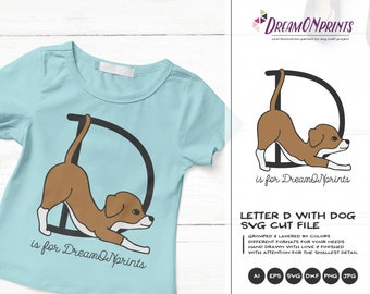 Monogram Letter D SVG Cut File | Alphabet Letter D with Dog