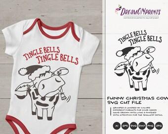 Jingle Bells  SVG  Christmas SVG Cut Files   Cow SVG