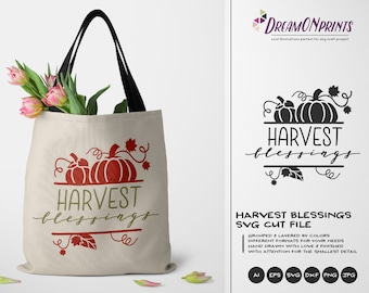 Harvest Blessings SVG Pumpkin | Fall Quote design