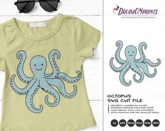 Octopus SVG Cut File | Ocean Svg | Sea Creatures | Octopus