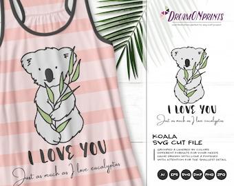 Funny Koala Svg | I Love You SVG | Valentine | Love SVG | Animals SVG