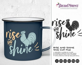 Rise and Shine Svg, Rooster SVG, Farm Animals Svg Cut File, Farm SVG, Farm House svg Sign Making Svg Files for Cutting and Printing DOP271