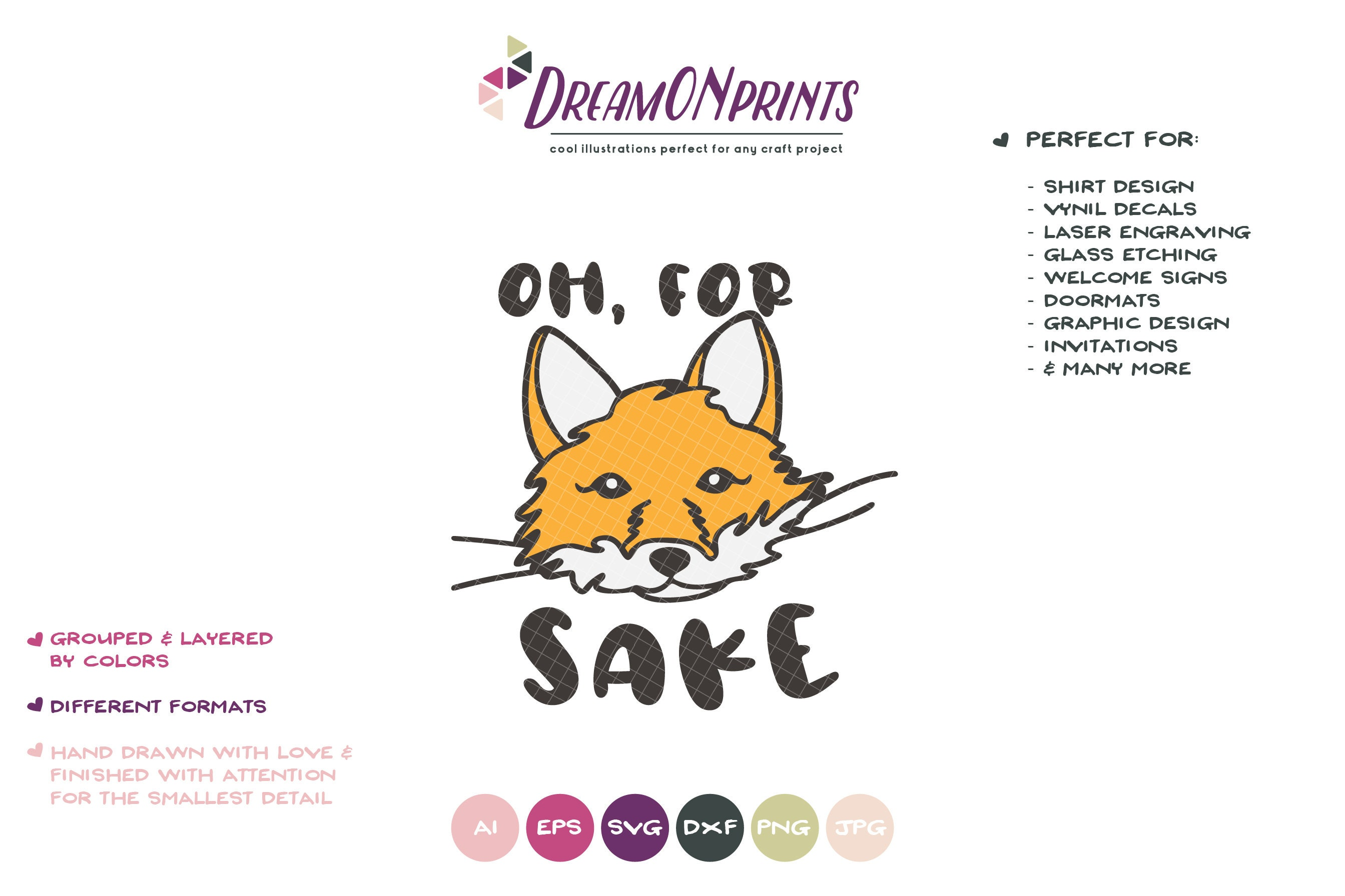 Fox Svg For Fox Sake Kids Svg Cute Wild Svg Cut File Nature Animals Svg Dxf For Cricut Silhouette Cutting Machines Dop334