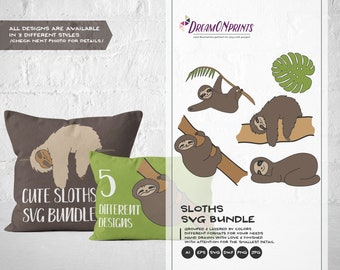 Sloths SVG Files, Sloth SVG Cut Files Svg, Lazy Svg, Sleeping SVG Sunday Dxf, Svg Files for Cricut, Silhouette Cutting Machines