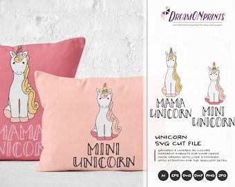 Unicorn SVG, Unicorn Cut File, Unicorn Family Svg, Mama Unicorn Svg, Mini Unicorn, Baby Girls Svg, Silhouette Cricut Cut Files DOP010