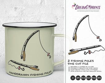 Fishing Pole SVG, Fishing SVG, Fishing Pole Cut Files, Lake svg Hunting SVG Camping svg for Cricut, Silhouette and More DOP220