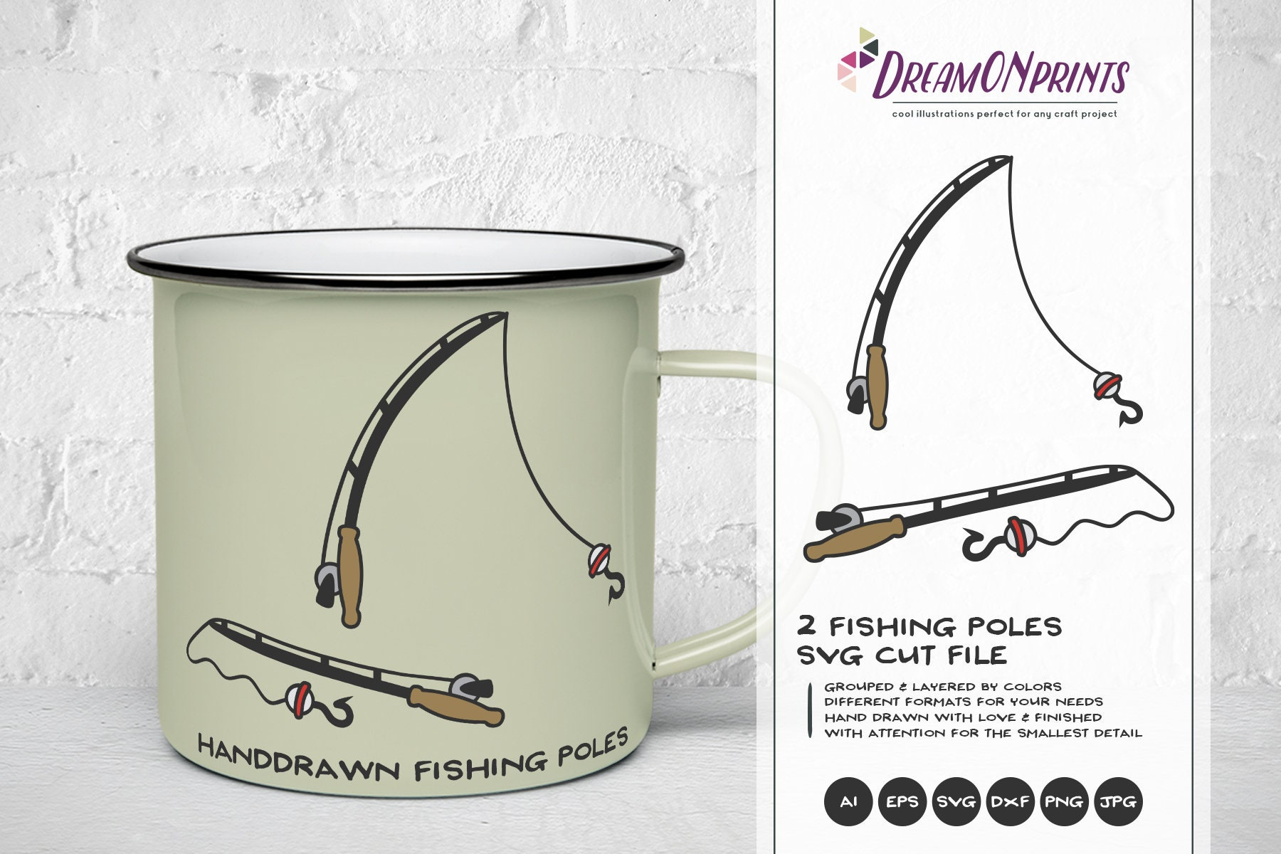 Fishing Pole Svg Fishing Svg Fishing Pole Cut Files Lake Svg Hunting Svg Camping Svg For Cricut Silhouette And More Dop220