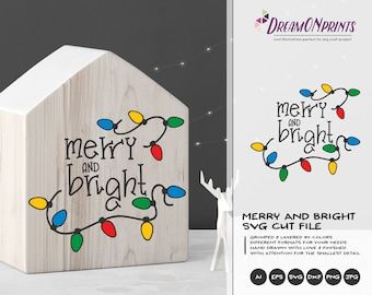 Marry and Bright SVG Christmas lights | Colorful Cut files | Festive Lights Design