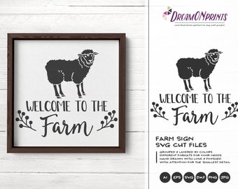 Sheep Svg, Welcome to the Farm SVG, Farm Animals Svg Cut File, Farm House svg Sign Making Svg Files for Cutting and Printing DOP262