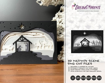 3D Nativity Scene SVG   Christmas SVG 3D Layered Design   Laser Cut Files