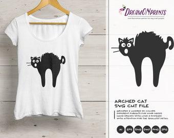 Cat SVG Black Cat Svg, Fun Cat Svg, Arched Cat Svg, Pets SVG, Shirt Design, Glass SVG  Files for Cricut, Silhouette Cutting Machines DOP104