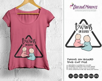 Twins on Board SVG, New Born SVG New Baby SVG, Pregnancy, Pregger, Baby Announcement Svg, Dxf Png Eps, Svg for Silhouette, Cricut Svg DOP168