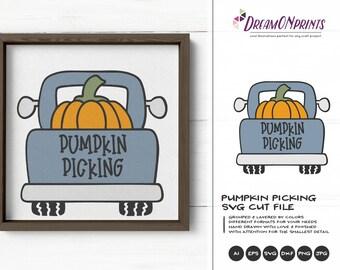 Pumpkin PickingSVG Fall | Cute Autumn Design