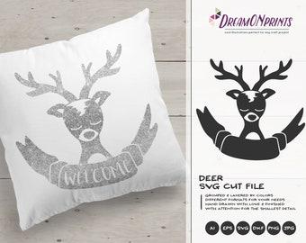 Deer SVG Cut File | Reindeer SVG | Cute Holiday SVG